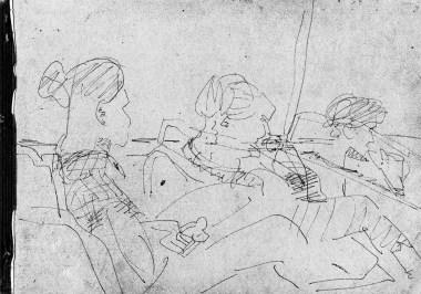 Three women in a bus