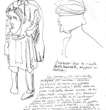 PÁGINA DEL CUADERNO STRINDBERG. Bocetos en Vic-sur-Seille y Marsal, Francia, 2013_Francisco Tomsich