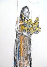 SŒUR, Carboncillo, pintura acrílica y pastel sobre papel A5, 2018_Francisco Tomsich